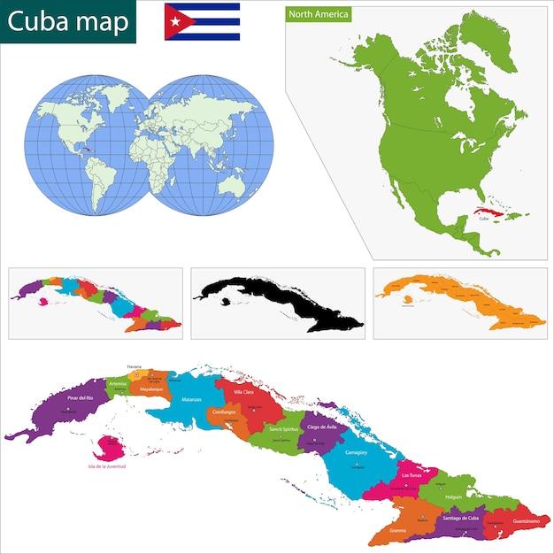 Mapa De Cuba Vector Premium