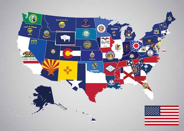 Mapa De Estados Unidos Con Estados Y Bandera De La Capital