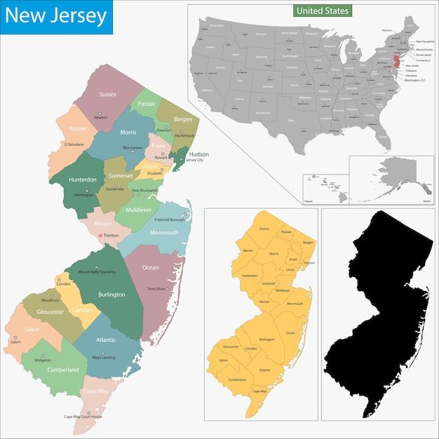 Mapa De Nueva Jersey Descargar Vectores Premium - Mapa de new jersey