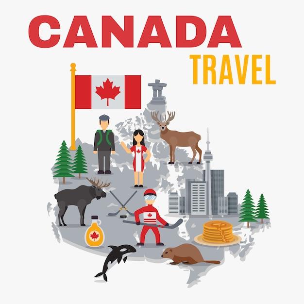 Mapa decorativo canada poster vector gratuito