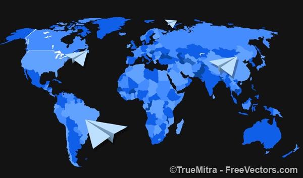 Mapa del mundo con aviones de papel descargar vectores - Papel pintado mapa del mundo ...