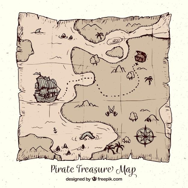 Mapa del tesoro pirata dibujado a mano | Descargar Vectores gratis