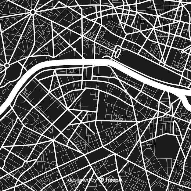 Mapa digital de la ciudad en blanco y negro vector gratuito