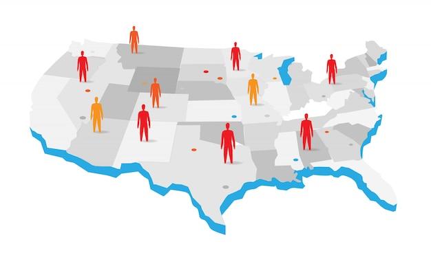 Mapa de estados unidos con la ilustración de los iconos de personas Vector Premium