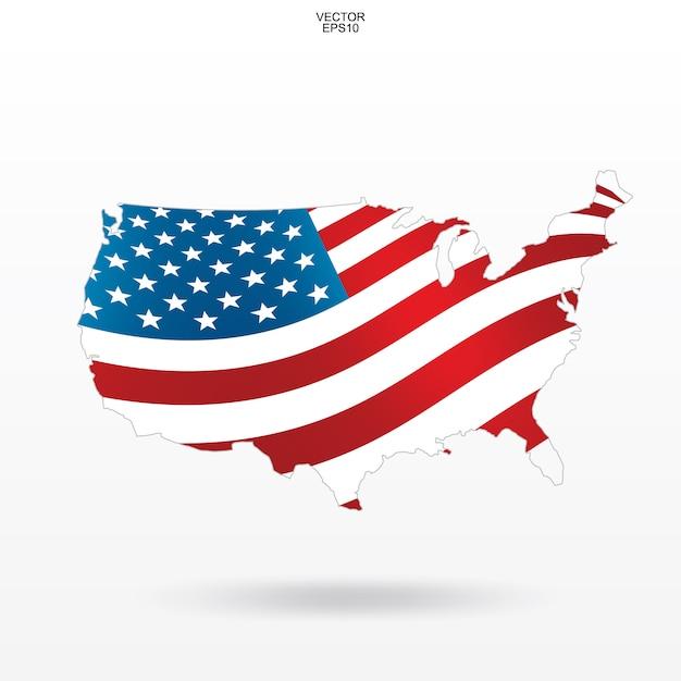Mapa de los estados unidos con el patrón de la bandera americana y agitando. Vector Premium