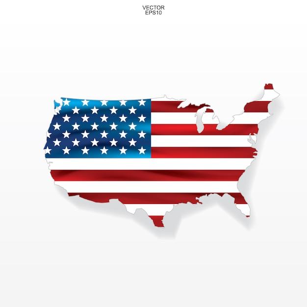 Mapa de los estados unidos con el patrón de la bandera americana. Vector Premium