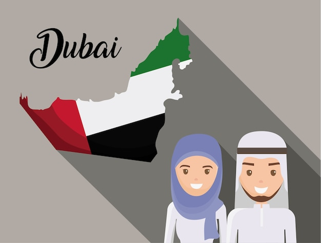 Mapa de la historieta de united arab emirates Vector Premium