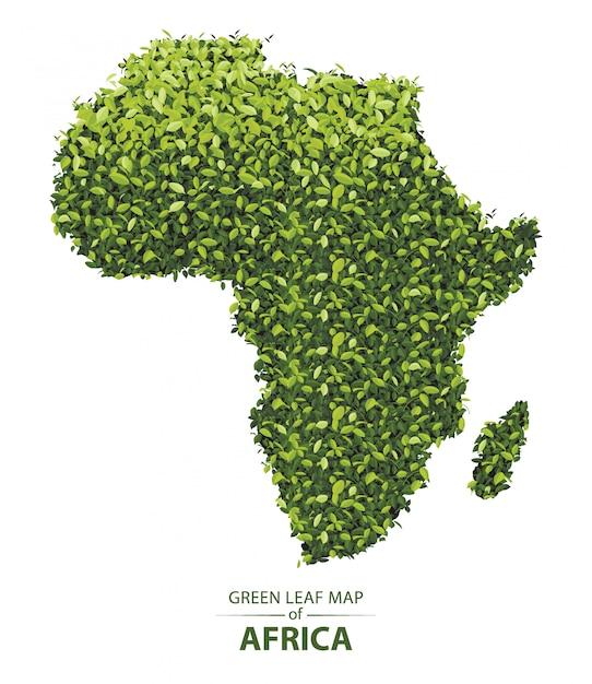 Mapa de hoja verde de africa Vector Premium