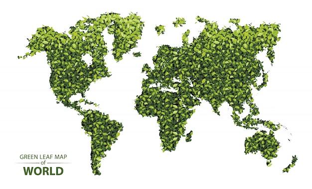 Mapa de hoja verde del mundo. Vector Premium