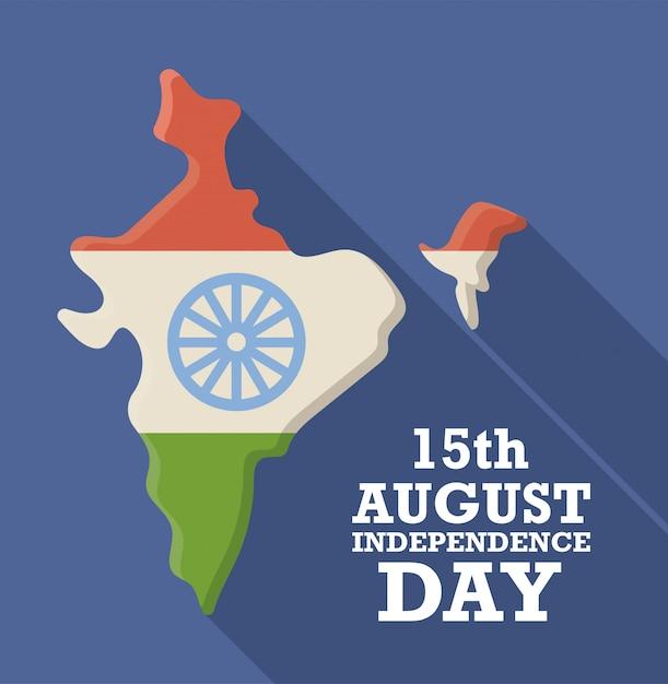 Mapa de india con bandera nacional, 15 de agosto día de la independencia Vector Premium