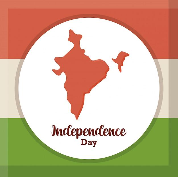 Mapa de la india en la bandera nacional, día de la independencia de la india Vector Premium