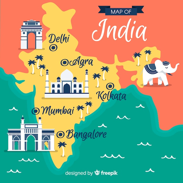 Mapa de india dibujado a mano vector gratuito