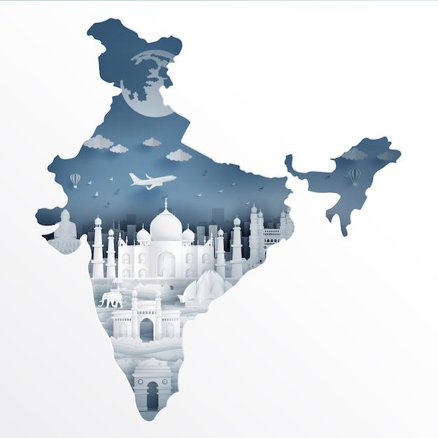 Mapa de la india con hito famoso Vector Premium