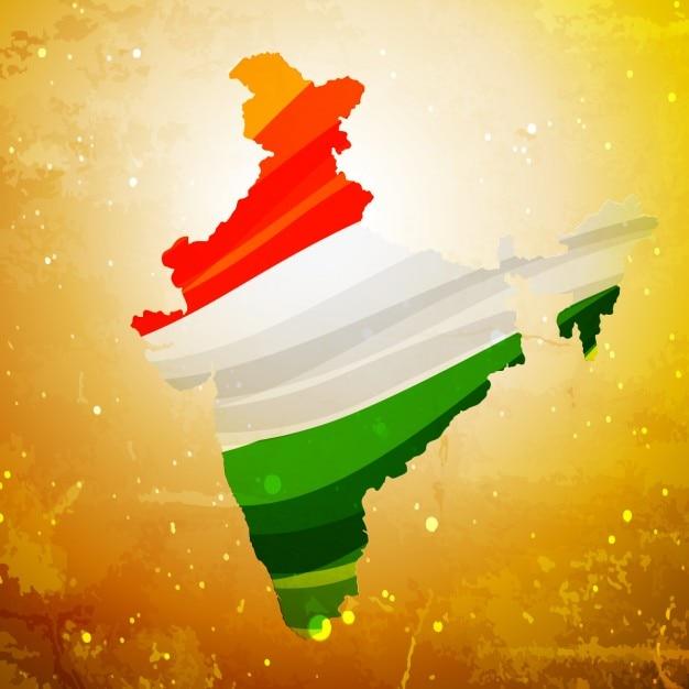 Mapa de la india en textura de fondo antiguo vector gratuito