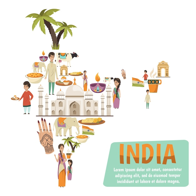 Mapa de la india vector gratuito