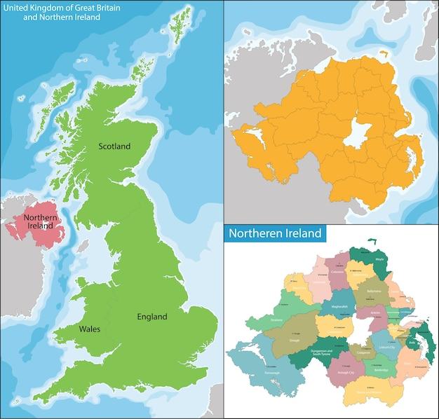 Mapa Irlanda Del Norte.Mapa De Irlanda Del Norte Vector Premium