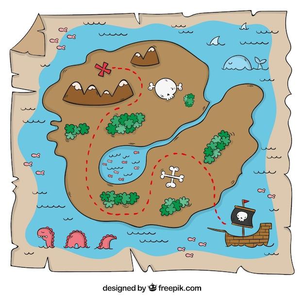 Mapa Isla Del Tesoro.Mapa De Isla De Tesoro Dibujado A Mano Vector Gratis