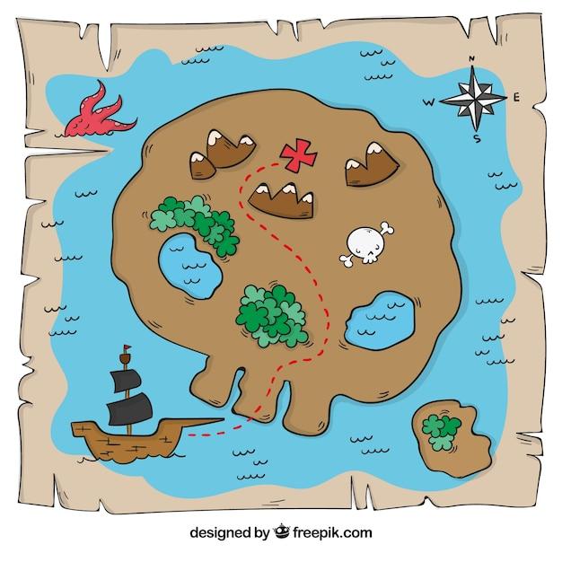 Mapa Isla Del Tesoro.Mapa De Isla Del Tesoro En Forma De Calavera Vector Gratis