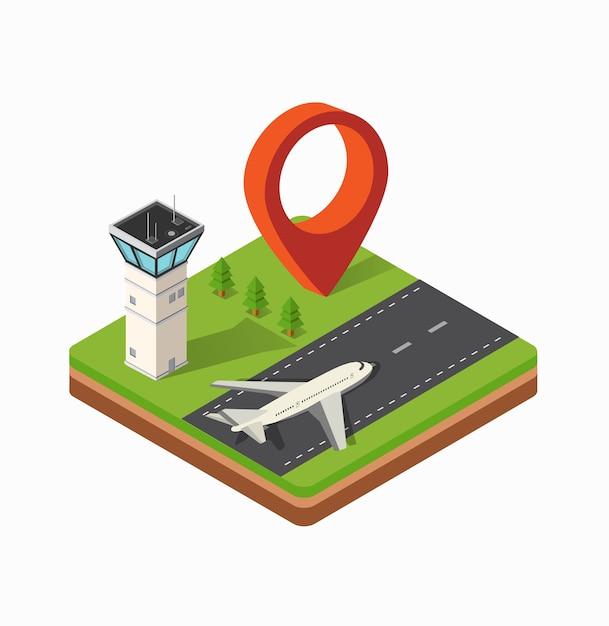 Mapa isométrico del aeropuerto de la ciudad, los árboles y el vuelo de la construcción. Vector Premium