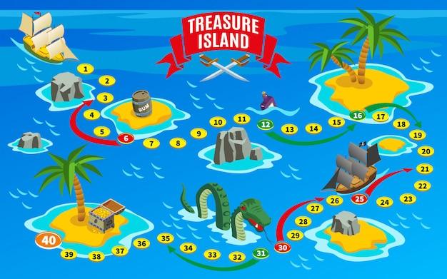 Mapa isométrico del juego de mesa piratas vector gratuito