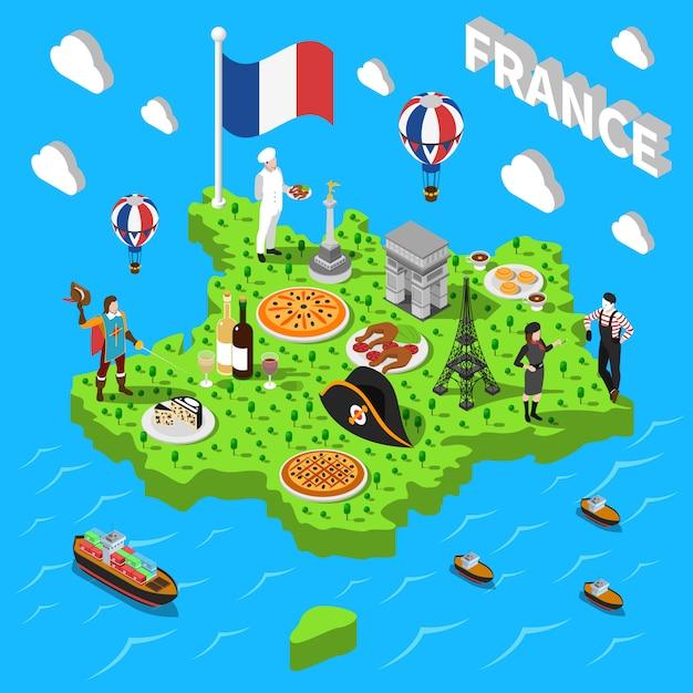 Mapa Turistico De Francia.Mapa Isometrico De Turismo En Francia Para Turistas Vector