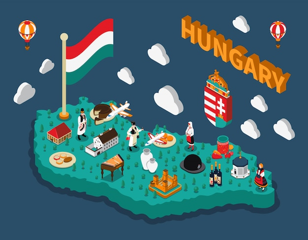 Mapa isométrico turístico de hungría vector gratuito