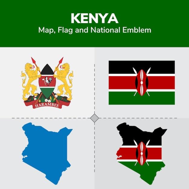 Mapa de kenia, bandera y emblema nacional Vector Premium
