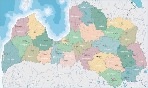 Mapa De Letonia Vector Premium