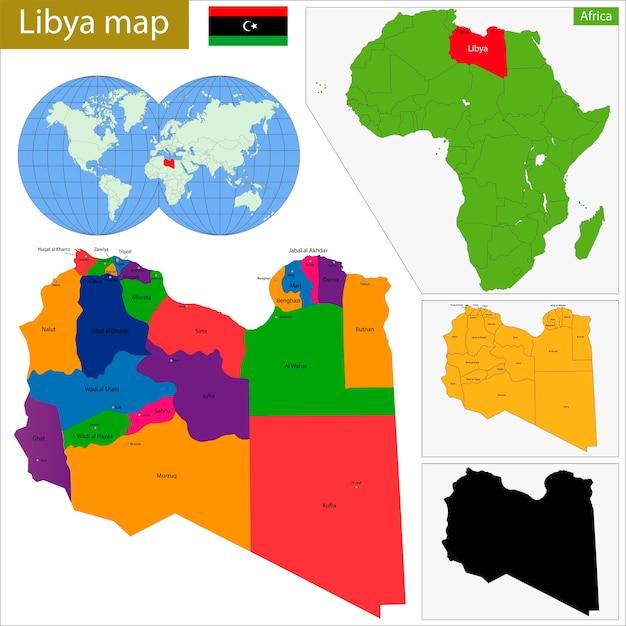 Mapa de libia Vector Premium
