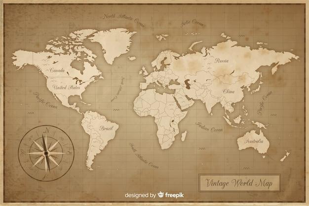 Mapa mundial antiguo y vintage vector gratuito