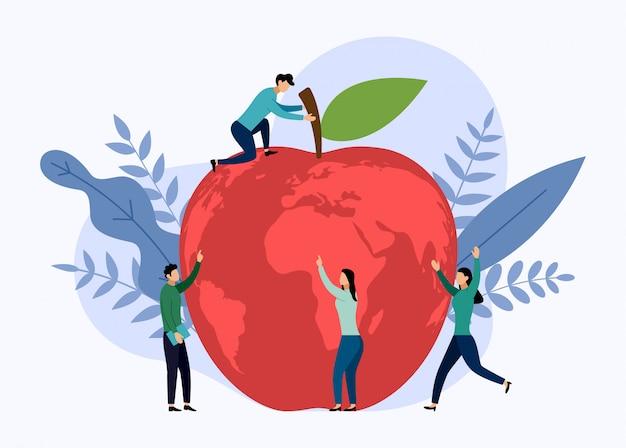 Mapa mundial de apple, concepto ecológico, ilustración vectorial Vector Premium