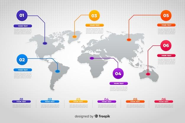 Mapa mundial infografía de negocios vector gratuito