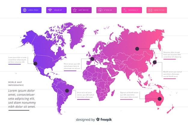 Mapa mundial infografía profesional vector gratuito