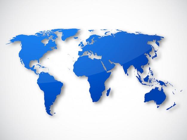 Mapa del mundo aislado vector gratuito