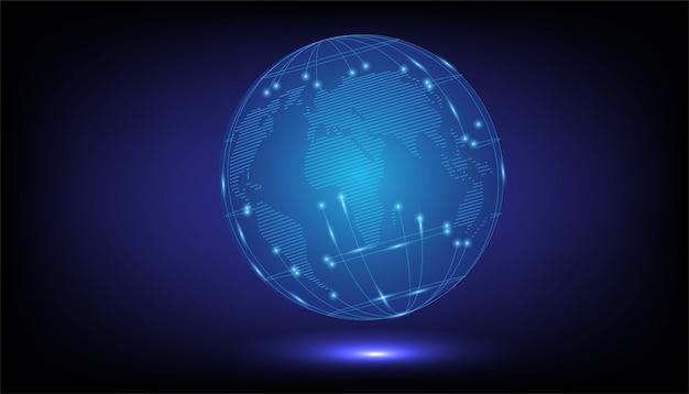 Mapa del mundo digital Vector Premium