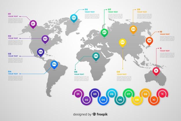 Mapa del mundo empresarial infografía vector gratuito