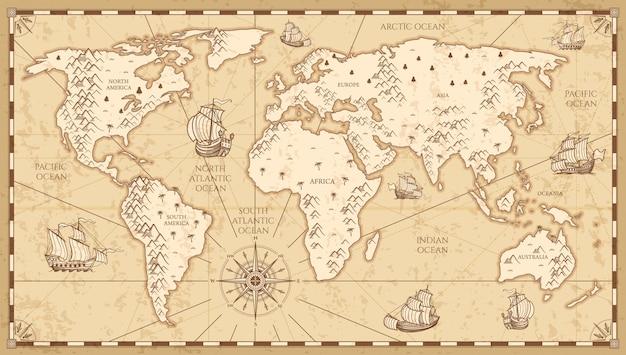 Mapa del mundo físico vintage con ilustración de vector de ríos y montañas. vintage retro viejo mundo mapa con nave de viajes antiguos Vector Premium