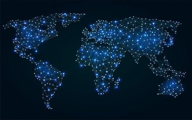 Mapa del mundo poligonal abstracto con puntos calientes, conexiones de red Vector Premium