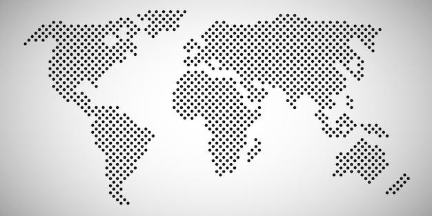 Mapa del mundo con puntos Vector Premium