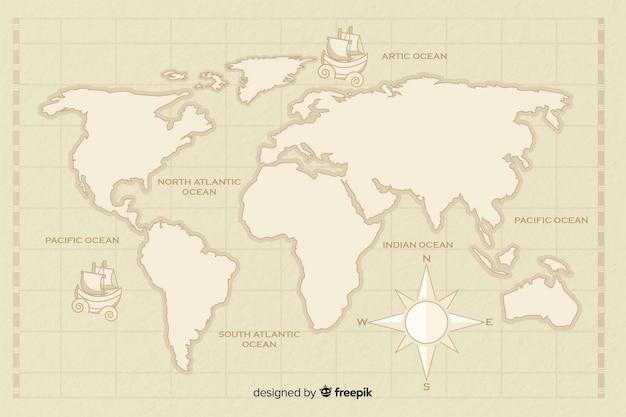 Mapa del mundo vintage con brújula vector gratuito