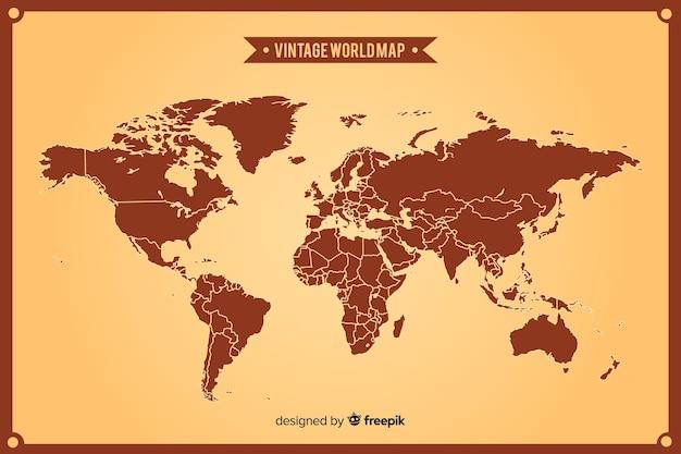 Mapa del mundo vintage con continentes Vector Premium