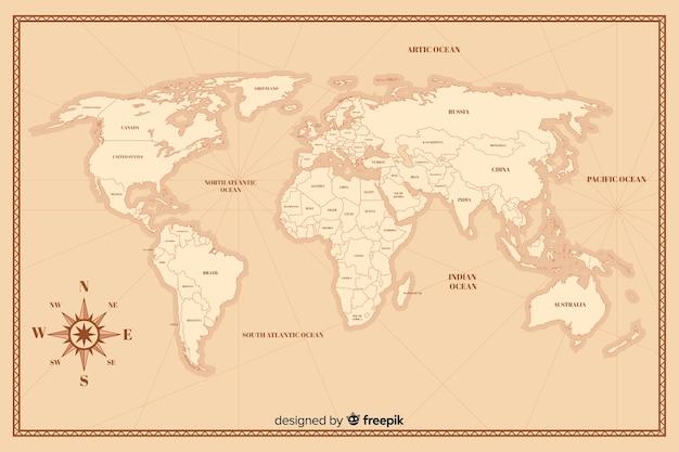 Mapa del mundo vintage en detalle vector gratuito