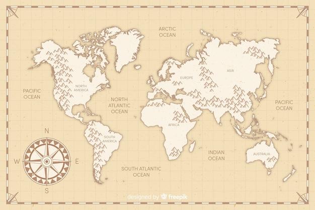 Mapa del mundo vintage de diseño plano vector gratuito