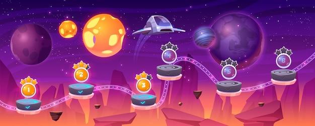 Mapa de nivel de juego espacial con nave espacial y planetas alienígenas, paisaje de dibujos animados 2d con interfaz gráfica de usuario, computadora o sala de juegos móvil con plataforma y elementos de bonificación. cosmos, universo ilustración de fondo futurista vector gratuito