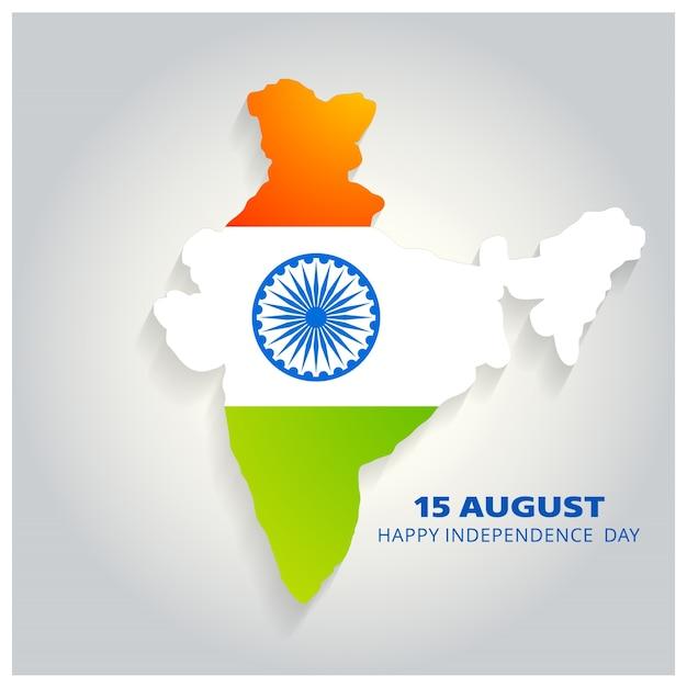 Mapa de país india con diseño para el día de la independencia vector gratuito