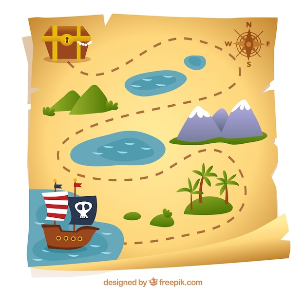 Mapa Del Tesoro Pirata Para Niños.Mapa De Pirata Con Camino Hacia El Tesoro Vector Gratis