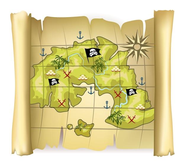 Mapa pirata vintage o mapa del tesoro con isla y rosa de los vientos vector gratuito