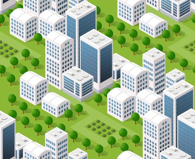 Mapa del plan urbano transparente, paisaje isométrico Vector Premium
