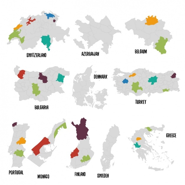 Mapa político de diferentes países vector gratuito