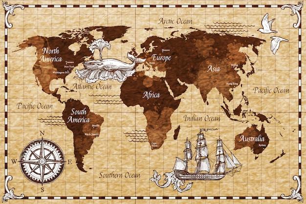 Mapa retro dibujado a mano vector gratuito